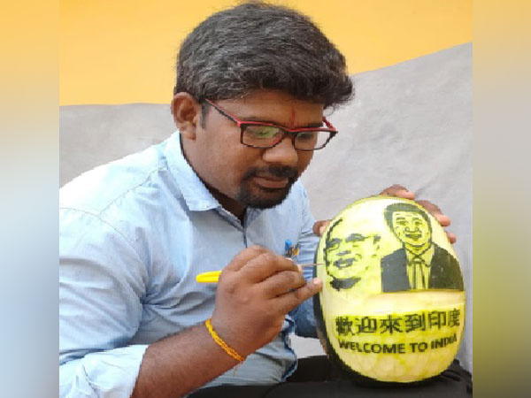 The Tamil Nadu-based artist painted Donald Trump and Modi on a watermelon
